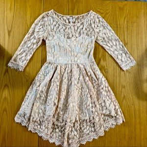 Free People Apricot All Over Lace 3/4 Sleeve Dress